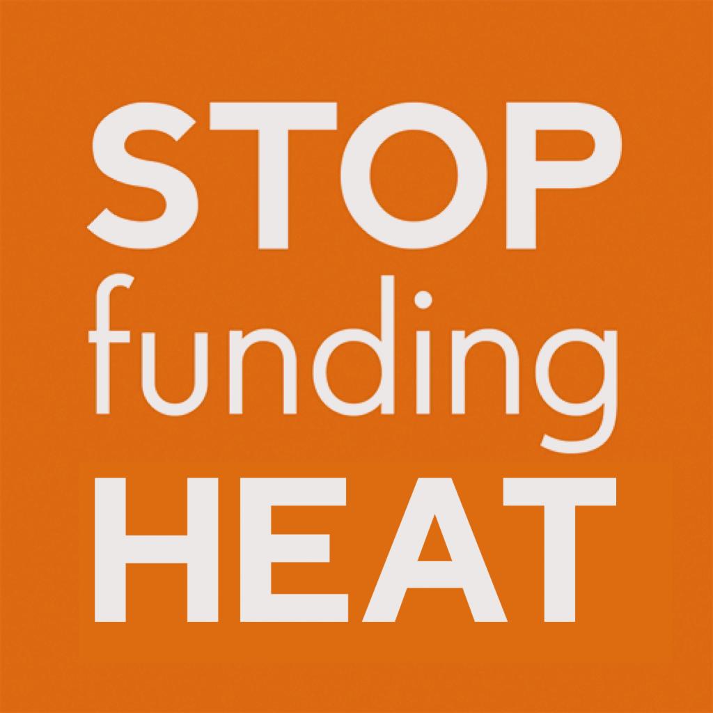 Stop funding heat logo